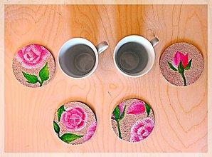 Pomôcky - Maľované podšálky plné ruží - 7702476_
