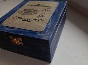 Krabičky - modrá vintage krabička na čaj - 7702695_