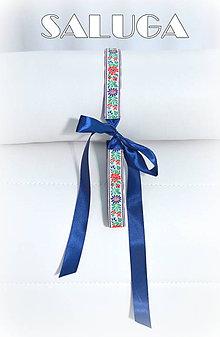 Opasky - Modrý folklórny opasok - dámsky - ľudový - folk - 7703436_