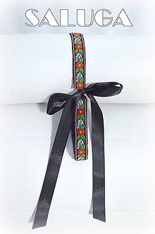 Opasky - Dámsky čierny folklórny opasok - ľudový - folkový - 7703439_