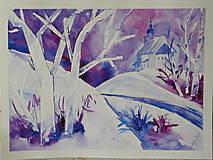 Obrazy - kostolík na vŕšku - 7703450_