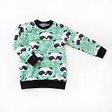 Detské oblečenie - BIO detská mikina - panda zelená - 7703979_