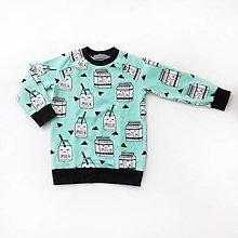 Detské oblečenie - BIO detská mikina - We love milk mint - 7704005_