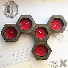 Svietidlá a sviečky - Moderný 6-uholníkový betónový svietnik EXY - 7703938_