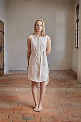 - Košilové šaty lněné béžové - 7701989_