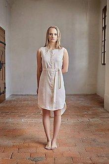 Šaty - Košilové šaty lněné béžové - 7701989_
