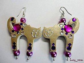 Náušnice - Náušničky mačičky-fialkové :) - 7704380_