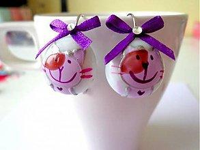 Náušnice - Náušničky mačičky-fialové :) - 7704690_