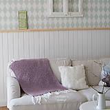 Úžitkový textil - Pletená deka ... starofialka so strapcami - 7707825_