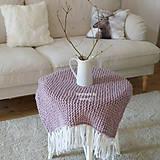 Úžitkový textil - Pletená deka ... starofialka so strapcami - 7707850_