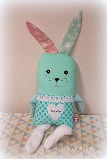 Hračky - Zajko tuľko 60cm vysoký azurovo-ružový - 7706939_