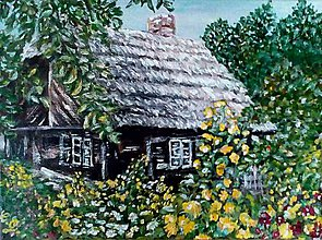 Obrazy - Chalúpka za žltými kvietkami - 7707413_