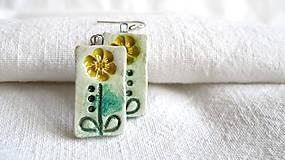 Náušnice - žltý kvet - 7708216_
