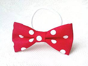 Ozdoby do vlasov - Mini Pin Up hair bow (red/white polka dots) - 7707838_