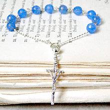 Náramky - Rosary Silver 925 Blue Jade Bracelet / Strieborný ruženec na ruku alebo do auta s modrým jadeitom - Ag 925 - 7707555_