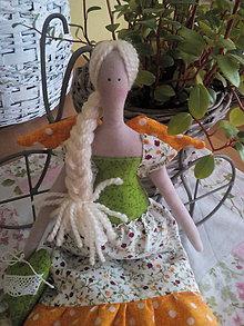 Bábiky - Tilda  oranžovo-zelená - 7708902_