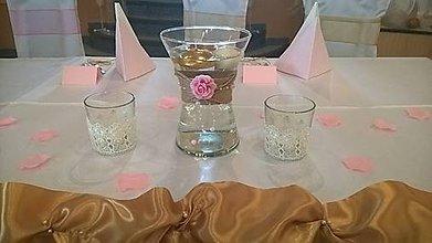 Svietidlá a sviečky - Svadobný svietnik ružový - 7706426_