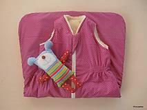 Textil - Detsky spaci vak na zimu 100% ovčie runo MERINO TOP super wash Bodka ružová - 7709834_