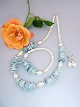 akvamarín perly a striebro náhrdelník náramok náušnice