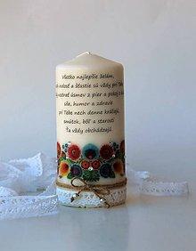Svietidlá a sviečky - Sviečka s osobným venovaním - ľudový motívII. - 7707907_