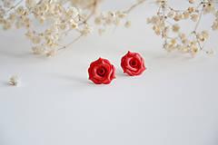 Náušnice - Valentína, napichovacie náušnice, fimo, ruže - 7706991_