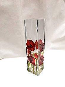 Dekorácie - Sklenená maľovaná váza - maky - 7708674_