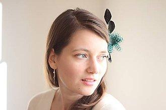 Ozdoby do vlasov - Vlasová ozdoba - fascinátor zelenočierny - 7706115_
