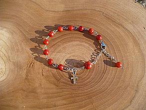 Náramky - ruženec na ruku z Koralu a komponentov z chirurgickej ocele - 7708193_