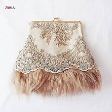 Kabelky - GRACE Lace&Fur spoločenská kabelka - 7708531_