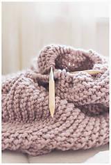 Úžitkový textil - Ručne pletená 100% prírodná vlnená deka
