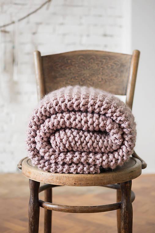 Ručne pletená 100% prírodná vlnená deka