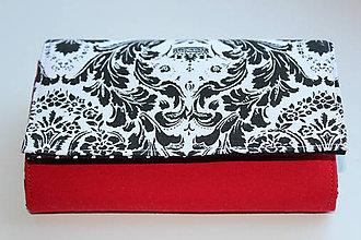 Peňaženky - Peňaženka čierno-biela...červená - 7710494_