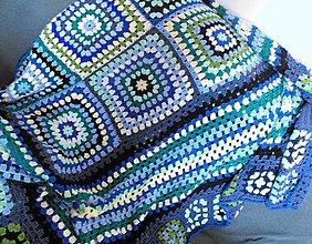 Úžitkový textil - háčkovaná deka v modrozelených farbách - 7711645_