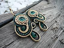 - Soutache náušnice Smaragdové zlato - 7711468_