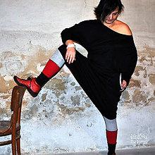Nohavice - černé a červené...turky/sukně - 7711975_