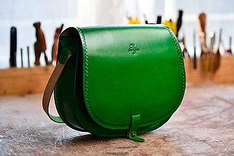 Kabelky - kabelka kožená lovecká /saddle bag ARTEMIS zelená - 7714113_