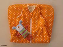 Textil - Ovčie rúno Detský spací vak na zimu 100% MERINO TOP super wash Hviezda pomarančová  - 7709870_