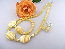 kalcit a striebro náhrdelník náramok náušnice - súprava