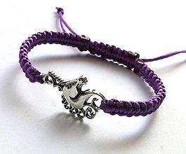Náramky - Náramok jednorožec (fialový tmavý) - 7713402_