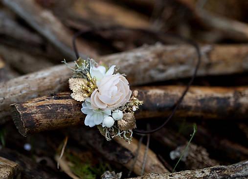 """Kvetinová čelenka na gumičke """"zlatá laň"""""""