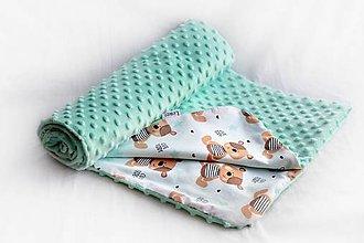Textil - Minky deka celoročná 100x75cm Mint & Teddy - 7714151_