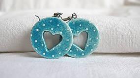 Náušnice - modré srdce - 7716170_