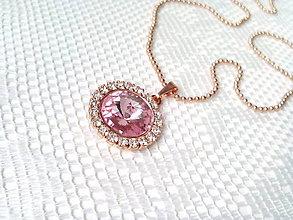 Náhrdelníky - Rose Gold necklace (24k necklace/Swarovski crystal) - 7716529_