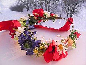 Ozdoby do vlasov - Svadobný kvetinový venček folk \