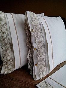Úžitkový textil - Ľanový vankúš s krajkou - 7716384_
