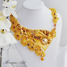 Náhrdelníky - Zlatý shibori náhrdelník + darček - 7716245_