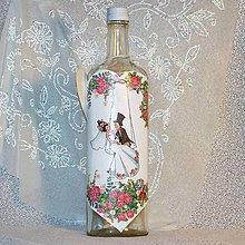 Nádoby - Svadobná fľaša Na hojdačke lásky - 7714365_