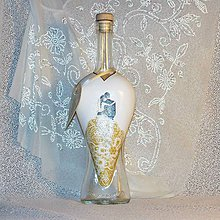 Nádoby - Svadobná fľaša Svadobné srdiečka - 7714370_
