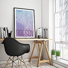 Grafika - PREŠOV, 50x70cm, elegantný, modro-fialový - 7715666_