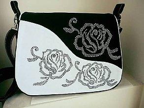 Kabelky - Kabelka čierno-biela ruža - 7715098_
